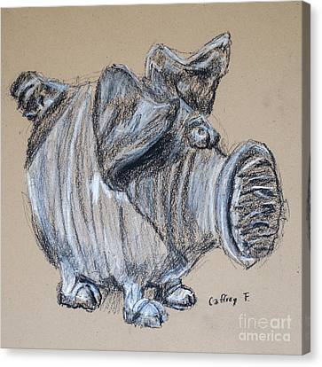 Piggy Bank Drawing By Caffrey Fielding Canvas Print by Edward Fielding