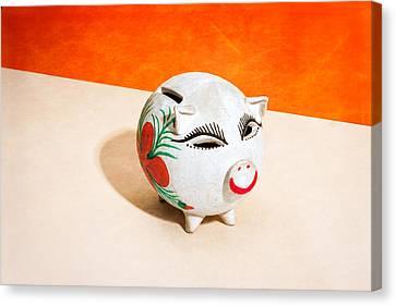 Piggy Bank Canvas Print - Piggy Bank Wink by Yo Pedro