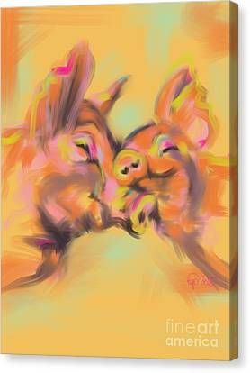 Canvas Print featuring the painting Piggy Love by Go Van Kampen