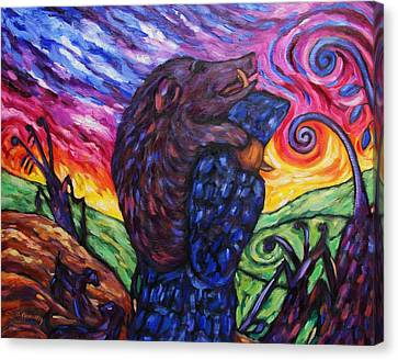 Canvas Print featuring the painting Pighunter And Boar At Sunset by Dianne  Connolly