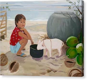 Piglet On The Beach Canvas Print