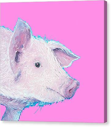 Piglet Painting For Nursery Or Kitchen Canvas Print