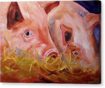 Piglet Pair Canvas Print by Nancy Merkle