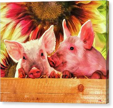 Piglet Playmates Canvas Print by Tina LeCour