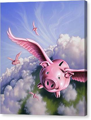 Pigs Away Canvas Print by Jerry LoFaro