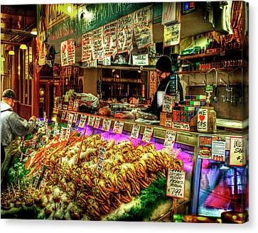 Pike Market Fresh Fish Canvas Print by Greg Sigrist