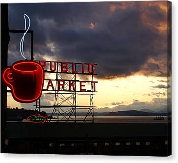 Pike Place Market Canvas Print by Sonja Anderson