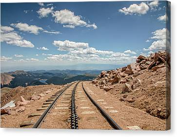 Pikes Peak Cog Railway Track At 14,110 Feet Canvas Print