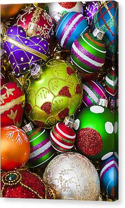 Pile Of Beautiful Ornaments Canvas Print by Garry Gay