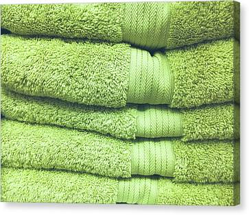 Pile Of Green Towels Canvas Print