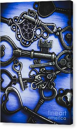 Pile Of Heart Shaped Keys Canvas Print