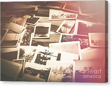 Pile Of Old Scattered Photos Canvas Print