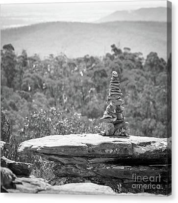 Pile Of Stones Black And White Canvas Print