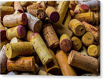 Pile Of Wine Corks Canvas Print by Garry Gay