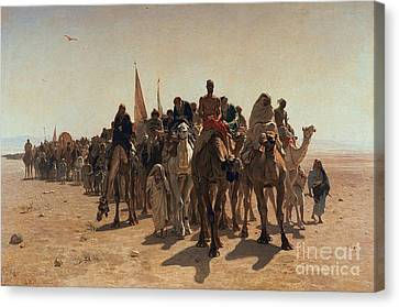Muslims Canvas Print - Pilgrims Going To Mecca by Leon Auguste Adolphe Belly