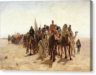 Pilgrims Going To Mecca Canvas Print by Louis Comfort Tiffany