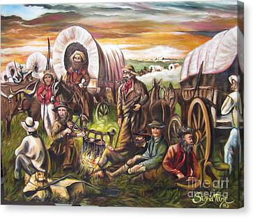 Canvas Print featuring the painting Pilgrims On The Plain by Sigrid Tune