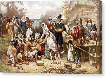 Encbr Canvas Print - Pilgrims: Thanksgiving, 1621 by Granger