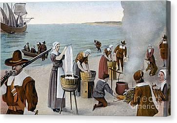 Pilgrims Washing Day, 1620 Canvas Print by Granger