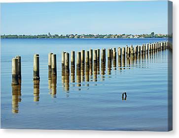 Pilings - Caloosahatchee Estuary Canvas Print by Nikolyn McDonald