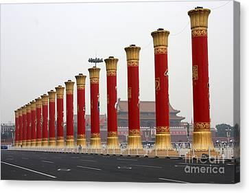 Pillars At Tiananmen Square Canvas Print by Carol Groenen
