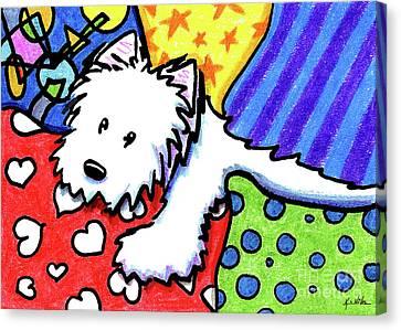 Pillow Pile Westie Canvas Print by Kim Niles