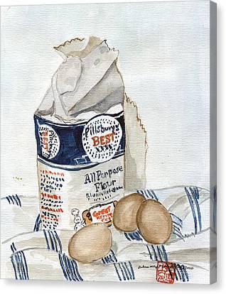 Pillsbury Canvas Print - Pillsbury Flour And Brown Eggs by Arlene  Wright-Correll