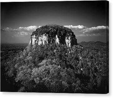 Pilot Mountain Back And White Canvas Print by Mark Wagoner