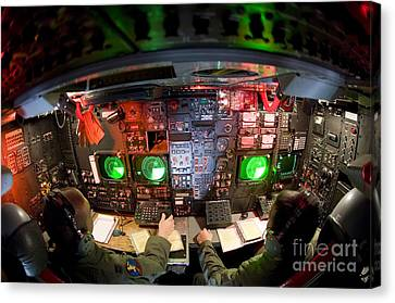 Pilots At The Controls Of A B-52 Canvas Print by Stocktrek Images