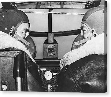 Pilots In B-25 Cockpit Canvas Print by Underwood Archives