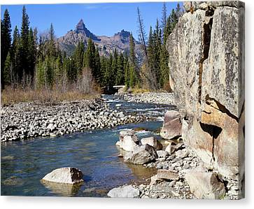 Pilots Peak And Clark Fork 1 Canvas Print by Shirley Mitchell