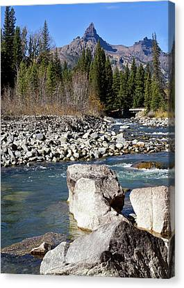 Pilots Peak And Clark Fork 4 Canvas Print by Shirley Mitchell
