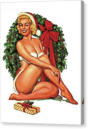 Canvas Print - Pin-up Calendar Girl In Front Of Christmas Wreath by Long Shot