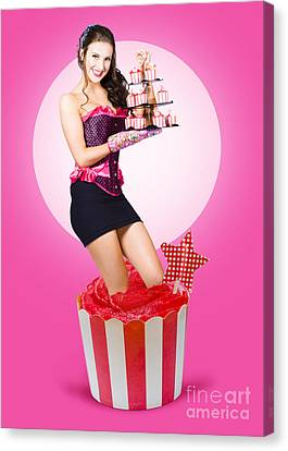 Pin-up Girl Popping Out Of Large Birthday Cake Canvas Print by Jorgo Photography - Wall Art Gallery