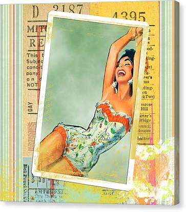 Pin Up Girl Square Canvas Print by Edward Fielding