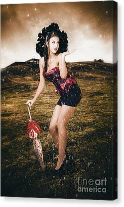 Pin Up Girl Standing In Field Under Summer Rain Canvas Print