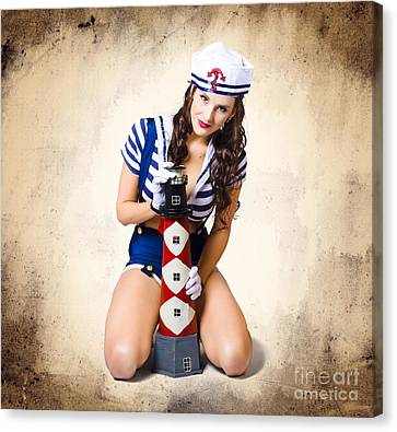 Youthful Canvas Print - Pin Up Girl With Curly Hair And Stylish Make-up by Jorgo Photography - Wall Art Gallery