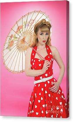 Pin Up Girl With Parasol Canvas Print