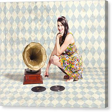 Oldies Canvas Print - Pin Up Gramophone Girl by Jorgo Photography - Wall Art Gallery