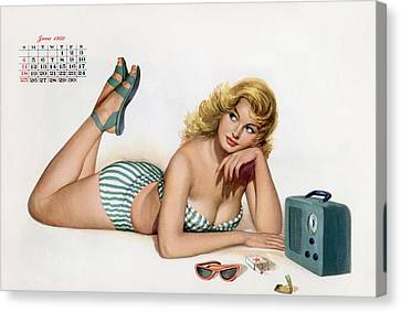 Pin Up Listening To Radio Canvas Print