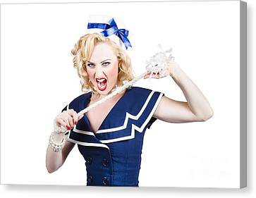 Pin Up Navy Girl Breaking Naval Rope With Strength Canvas Print by Jorgo Photography - Wall Art Gallery