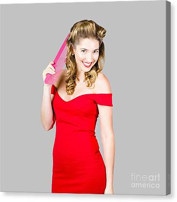 Pin-up Styled Fashion Model With Classic Hairstyle Canvas Print
