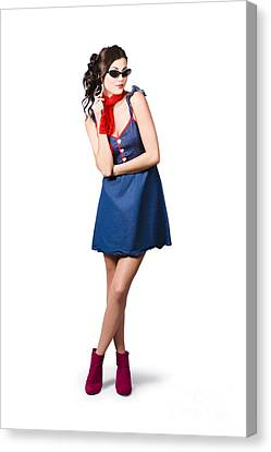 Pin Up Styling Fashion Girl In Retro Denim Dress Canvas Print by Jorgo Photography - Wall Art Gallery