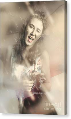 Pin-up Woman Dancing In A Shower Of Rain Canvas Print