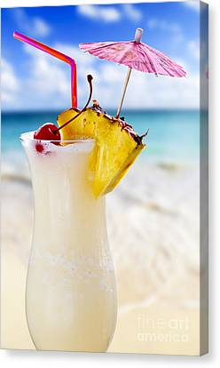 Pina Colada Cocktail On The Beach Canvas Print by Elena Elisseeva