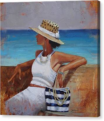 Hat Canvas Print - Pina Colada Please by Laura Lee Zanghetti