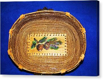 Pine Cone Pine Needle Basket Canvas Print