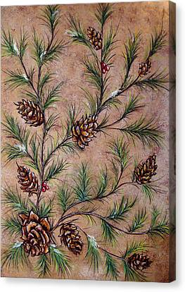Pine Cones And Spruce Branches Canvas Print