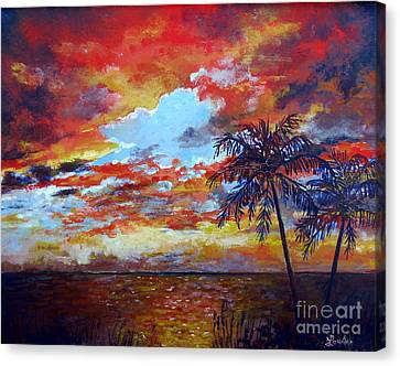 Canvas Print featuring the painting Pine Island Sunset by Lou Ann Bagnall