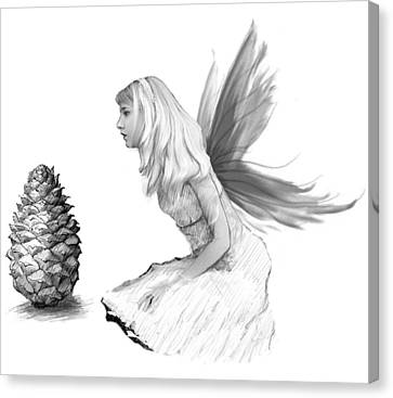 Pine Tree Fairy With Pine Cone B And W Canvas Print